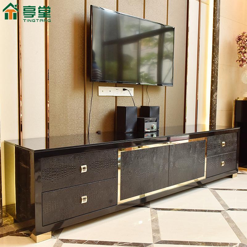 後現代輕奢電視櫃茶几組合黑色不鏽鋼新古典簡約港式風格客廳傢俱