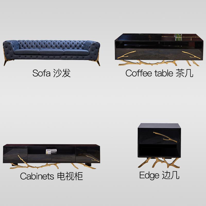 亭堂新古典后现代单双人三人皮沙发整装拉扣美式轻奢港式客厅家具