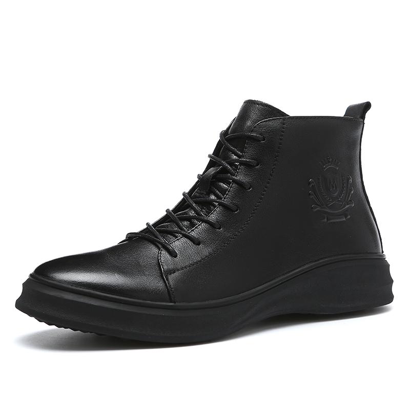 男鞋秋季2019新款鞋子男士马丁靴高帮休闲皮鞋中帮皮靴真皮短靴男