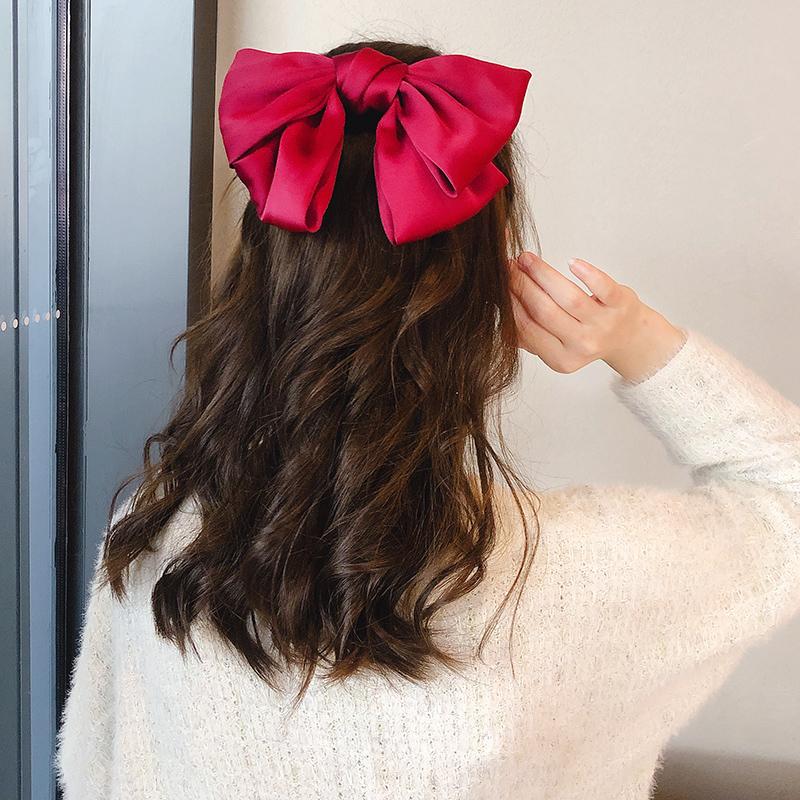 红色大蝴蝶结发绳发夹日系抖音发饰丝绒发卡发箍发带后脑勺jk头饰主图