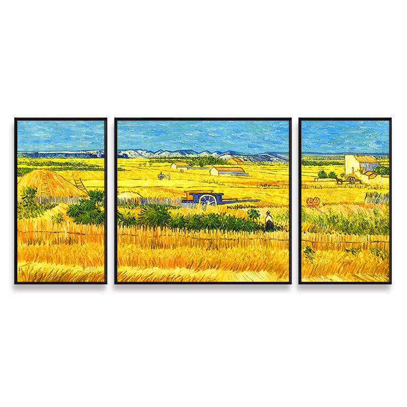 梵高名画丰收手绘油画定制简约装饰餐厅三联画客厅沙发背景墙壁挂