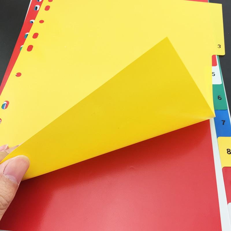 12色塑料彩色分页纸 11孔隔页纸PP塑料分页纸 索引纸 A4分类纸 隔页纸 资料分类 文件夹隔页 资料隔页索引