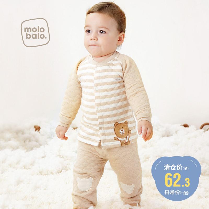 嬰兒內衣純棉套裝秋冬保暖加厚寶寶夾棉開身秋冬嬰兒秋裝寶寶套裝