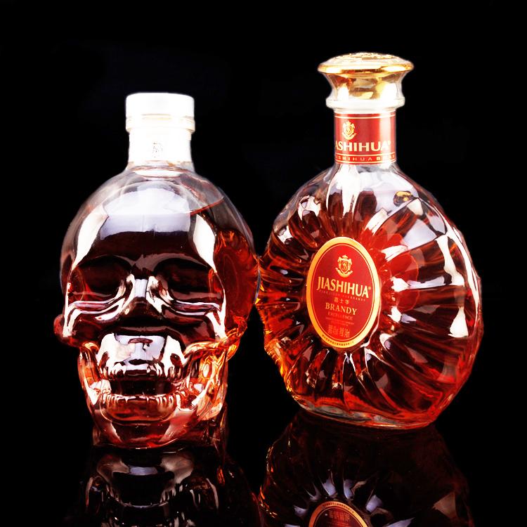 骷髅头威士忌嘉士华圆瓶小白兰地组合套餐两瓶 正品洋酒组合