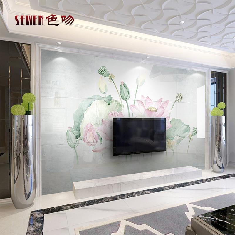 色吻瓷砖背景墙现代简约中式电视墙砖 客厅卧室手绘荷花瓷砖壁画