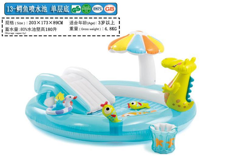 包邮送泵INTEX充气水池 家庭游泳池儿童游大泳池 戏水池 海洋球池
