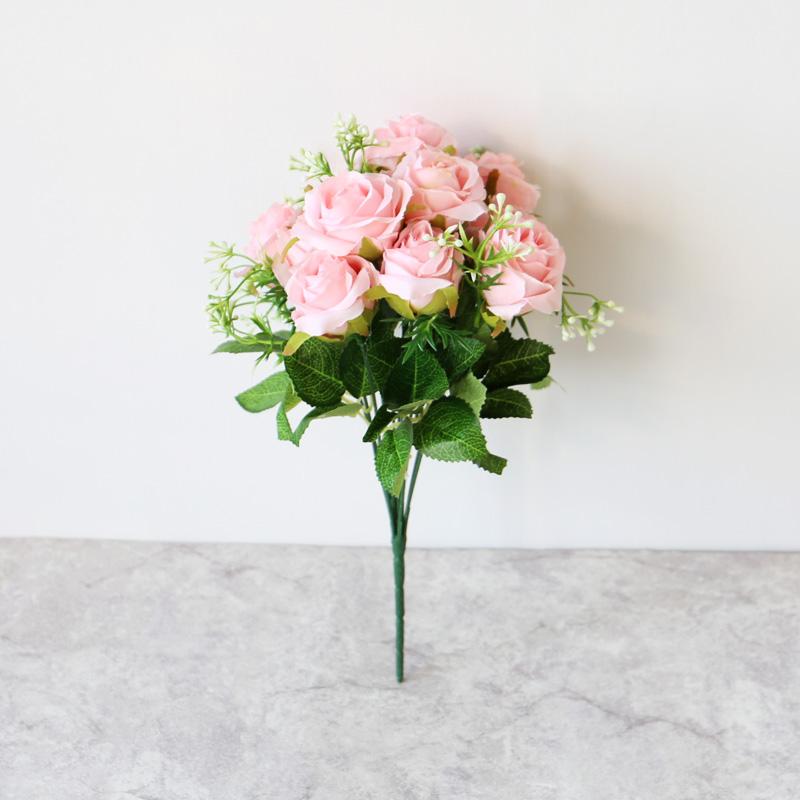 头把束玫瑰仿真玫瑰假花束绢花艺墙装饰花朵客厅装饰婚庆道具 12