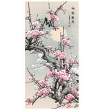 Chinese painting flower and bird painting red plum primula / Tang Bohu calligraphy and painting hotel hotel home decoration hanging painting silk scroll painting
