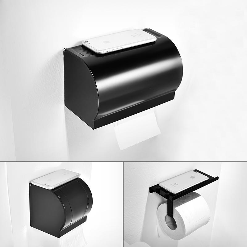 美式太空铝厕所防水卷纸架浴室黑色免打孔手纸盒卫生间壁挂纸巾盒