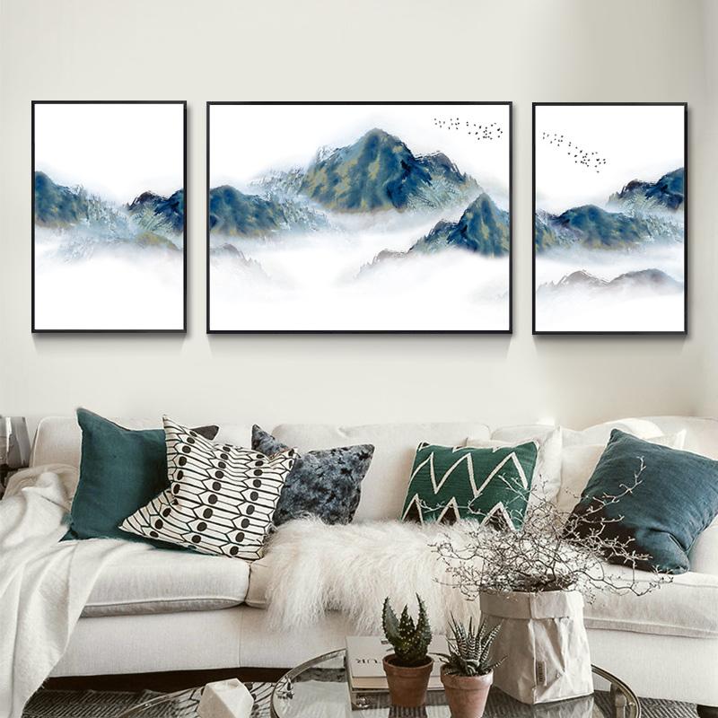 客厅装饰画沙发背景墙三联画挂画现代新中式水墨山水画办公室壁画
