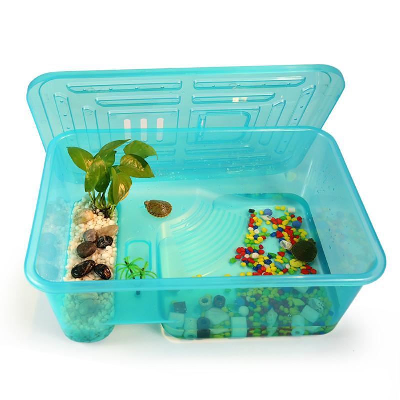 乌龟缸带晒台 小鱼缸养乌龟专用缸塑料手提盆水陆缸 送活体小乌龟