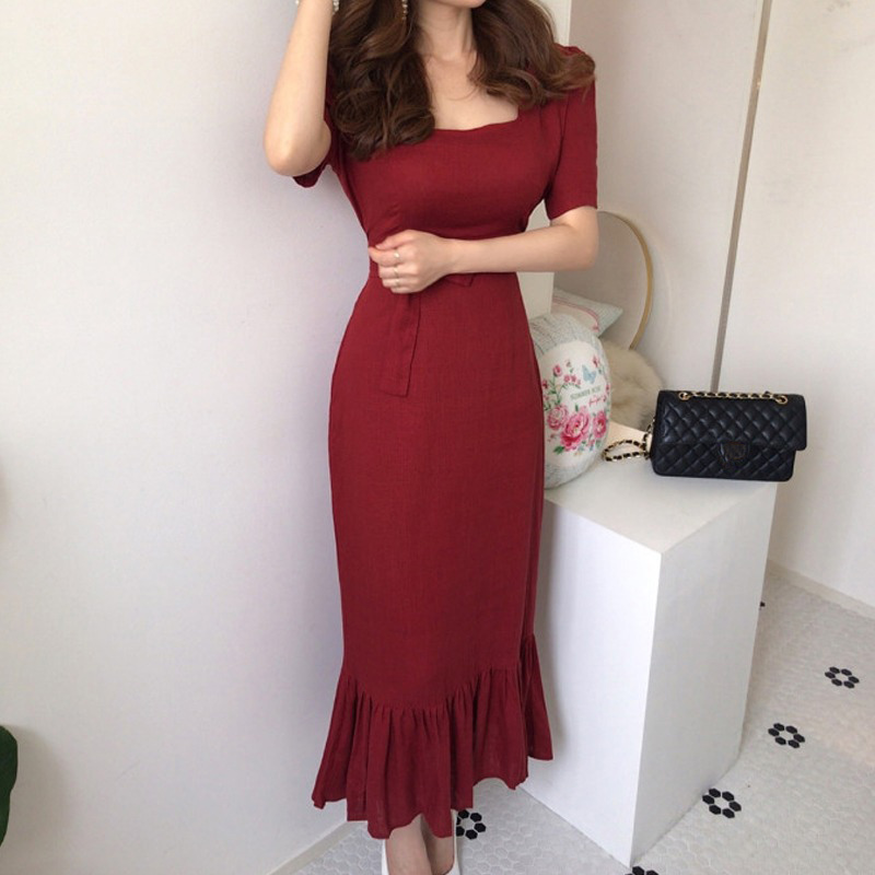 复古方领2021夏季新款女气质棉麻荷叶边鱼尾裙修身显瘦收腰连衣裙