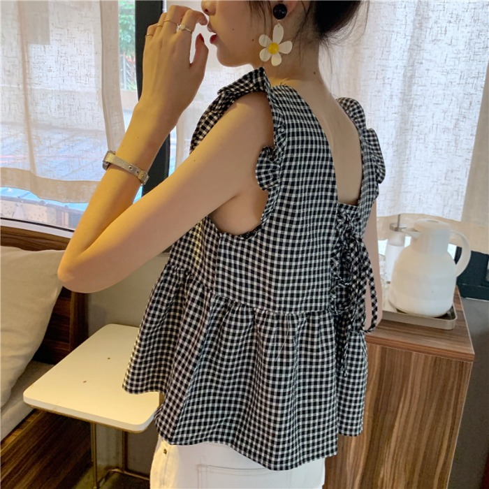 夏季韩国ins甜美后背绑带格子上衣设计感女小众娃娃衫小背心衬衫