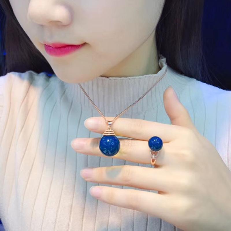 新品多米尼加净水无杂蓝珀套装琥珀蜜蜡吊坠墨西哥蓝珀戒指项链女