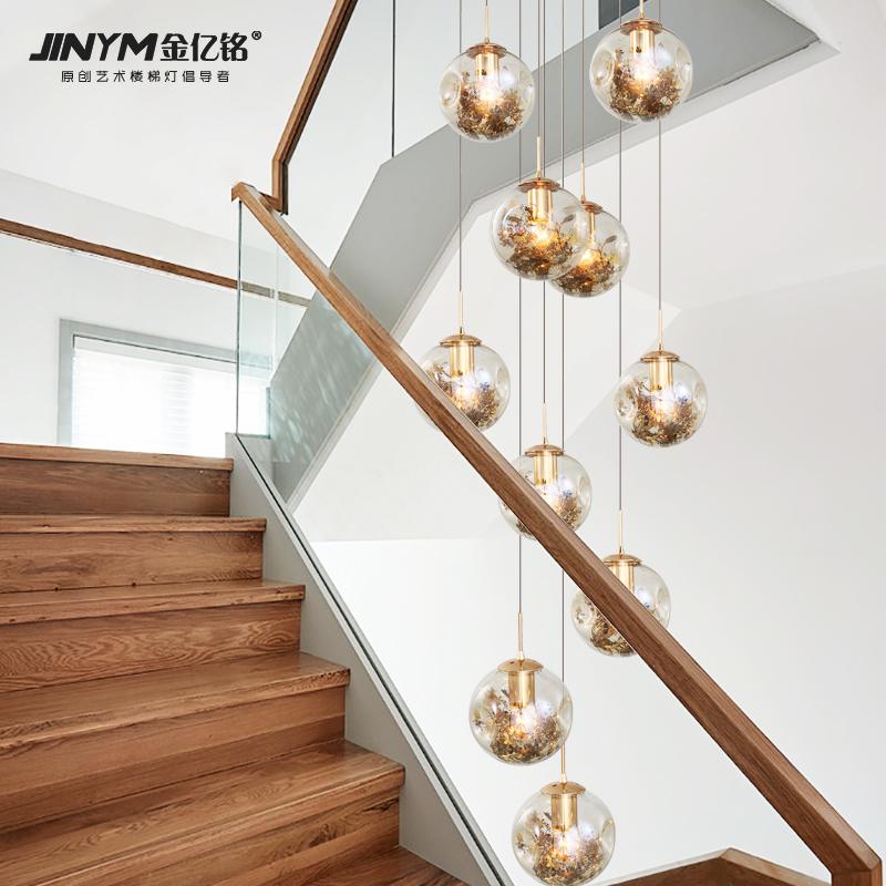 楼梯吊灯长吊灯现代简约复式楼别墅跃层中空客厅餐厅创意轻奢灯具