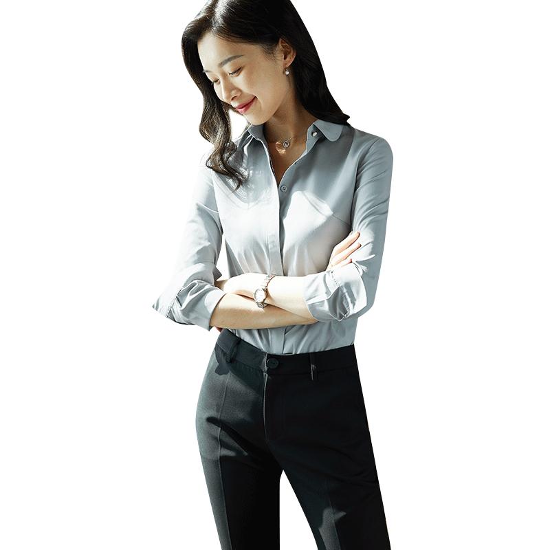 灰衬衣女2019秋装新款七分袖韩版白色衬衫职业工装修身正装工作服