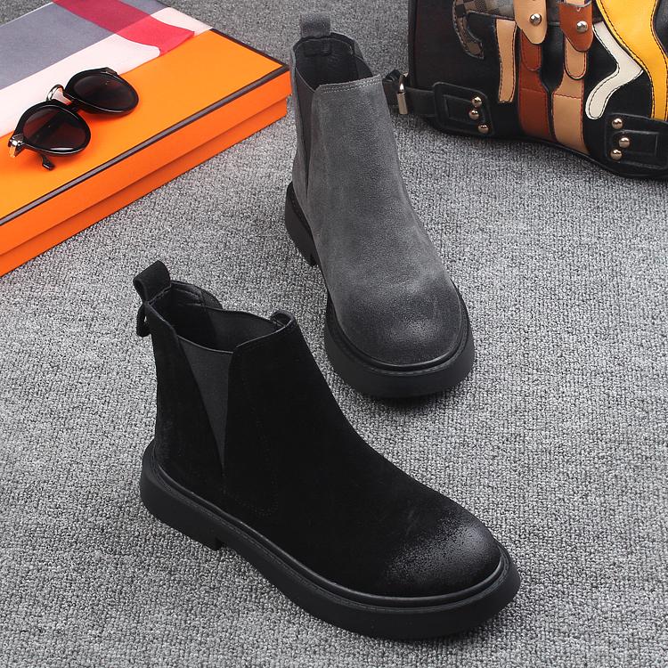 莎美佳2018秋季新款女鞋磨砂皮圓頭真皮平底短筒馬丁靴鬆緊口短靴
