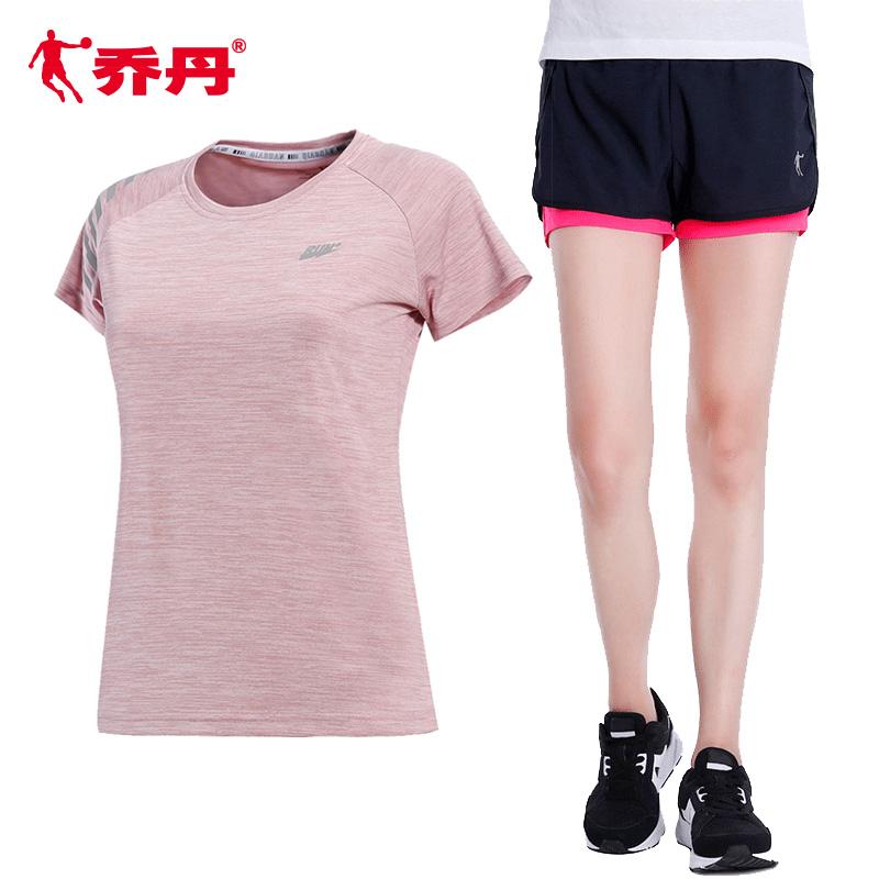 乔丹运动套装女短袖短裤休闲两件套夏季大码宽松健身房跑步运动服