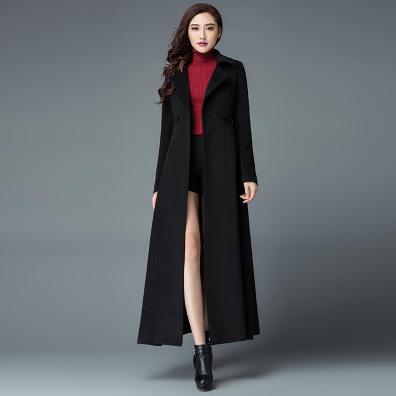 2019冬季新款修身时尚毛呢外套长款西装领纯色显瘦简约过膝呢大衣