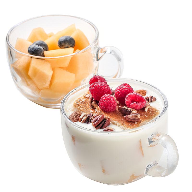 2只价 日式玻璃麦片杯可爱早餐碗大容量酸奶杯燕麦杯家用牛奶杯子