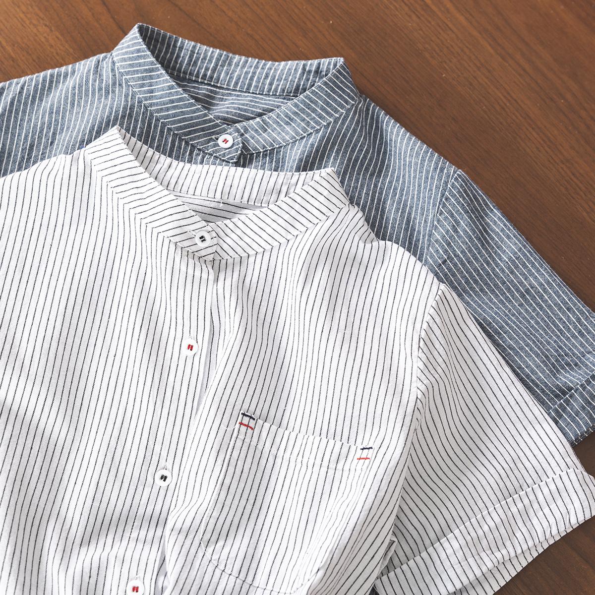 复古港味设计感文艺立领气质小衫条纹短袖衬衫女棉麻上衣夏季新款