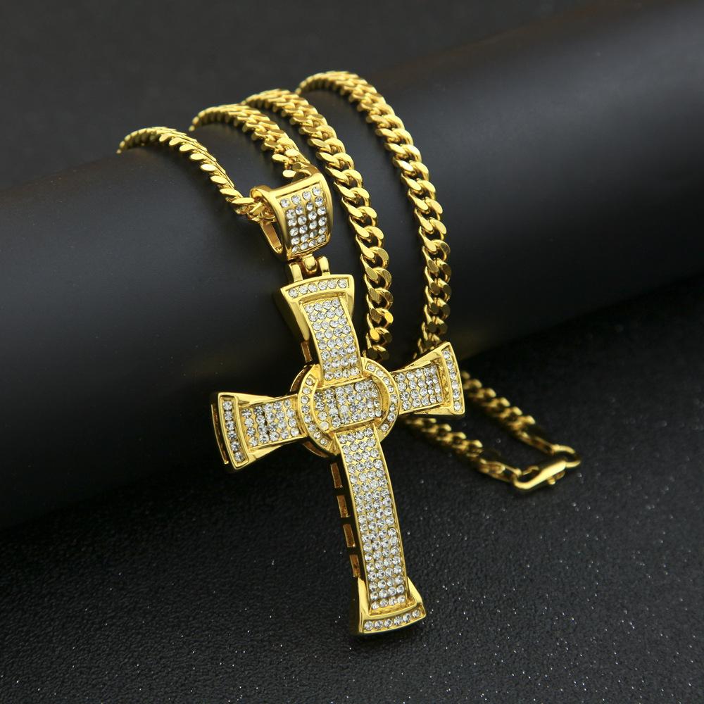 欧美嘻哈项链男潮hiphop十字架项链古巴链个性手表配饰套装街头男