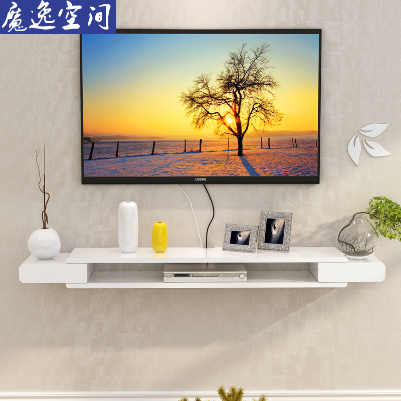 电视柜机顶盒置物架客厅电视墙背景墙壁挂架子卧室墙上装饰架挂墙