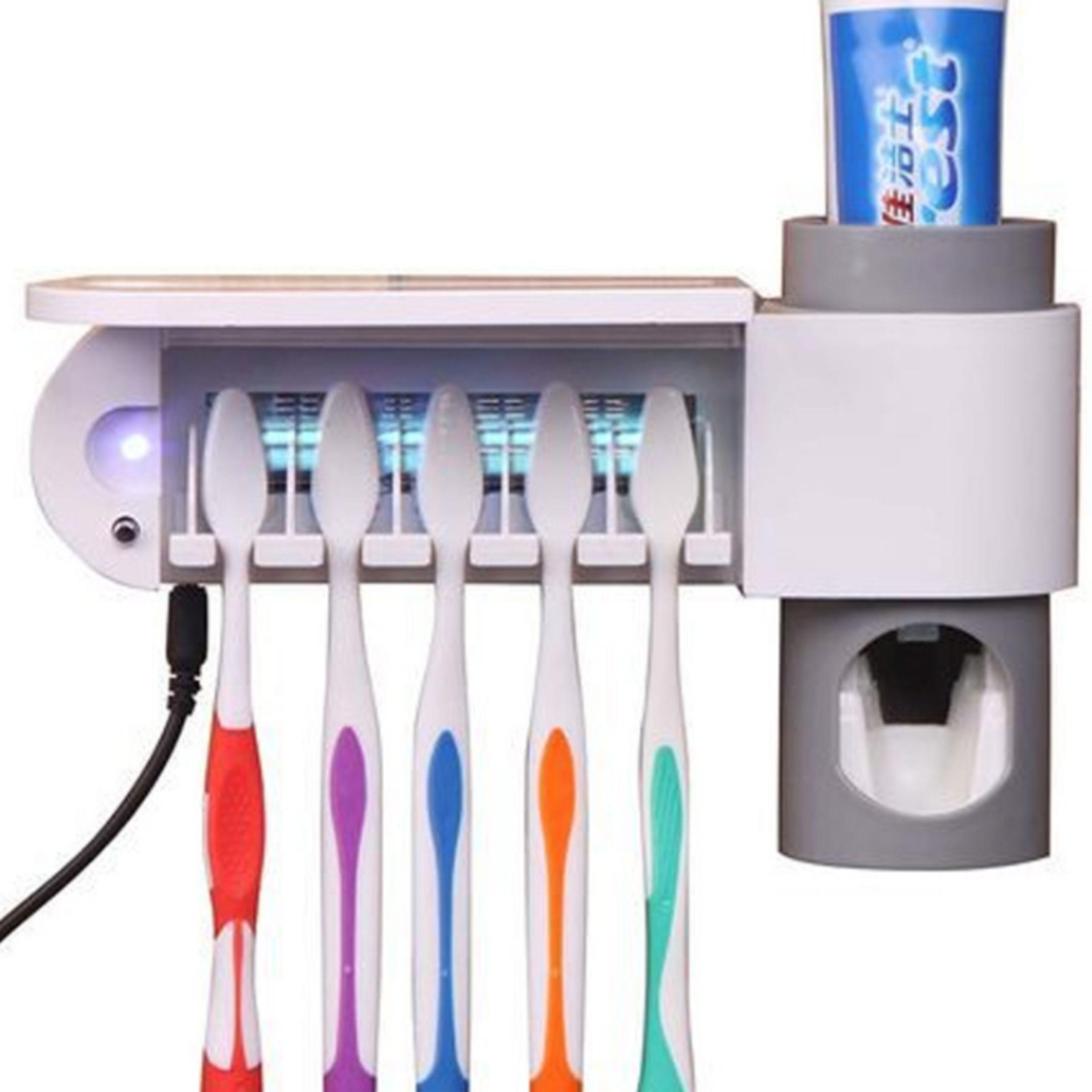 卫舒洁牙刷架挤牙膏器 紫外线牙刷消毒杀菌器 创意懒人牙膏挤压器