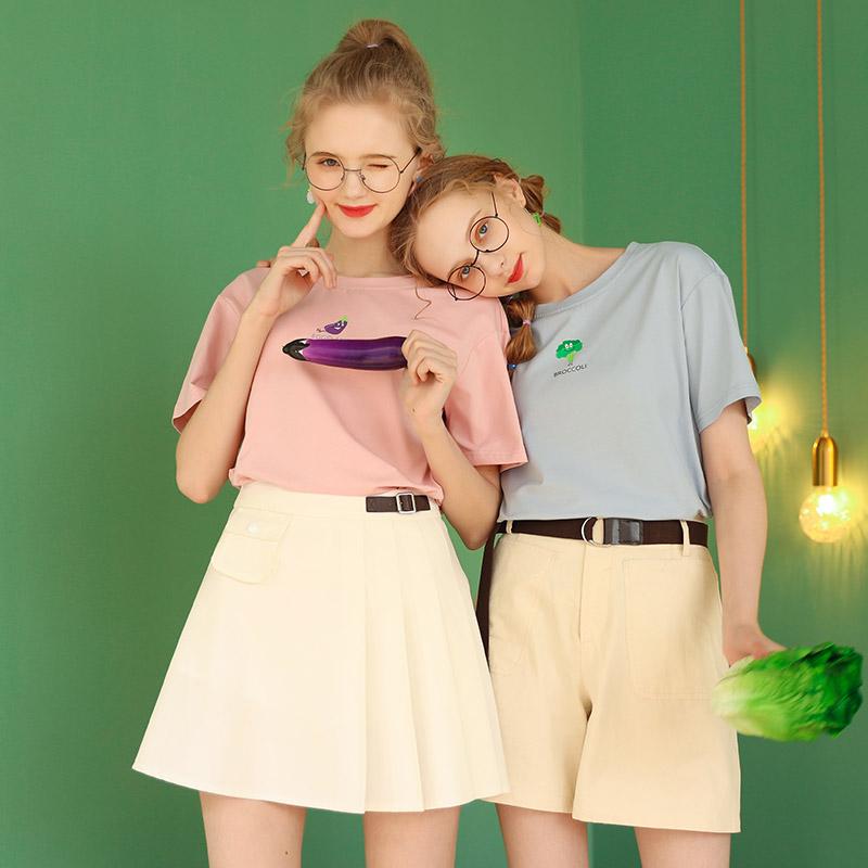 黄色宽松短袖小个子T恤女夏半袖上衣ins潮2020年新款粉色少女体桖
