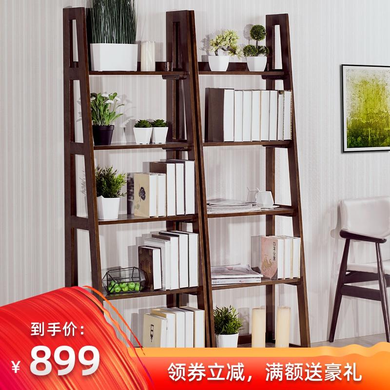 全實木置物架多功能梯型疊層花架儲物架客廳辦公室組合式書架