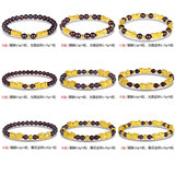 Pure gold bracelet female with garnet 999 hard foot gold this life year transfer beads couple bracelets to recruit rich men