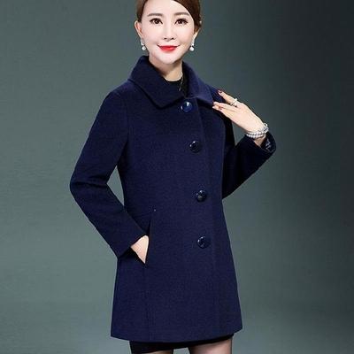 中年女装秋冬妈妈装毛呢外套中长款40岁50大码中老年女装呢子大衣