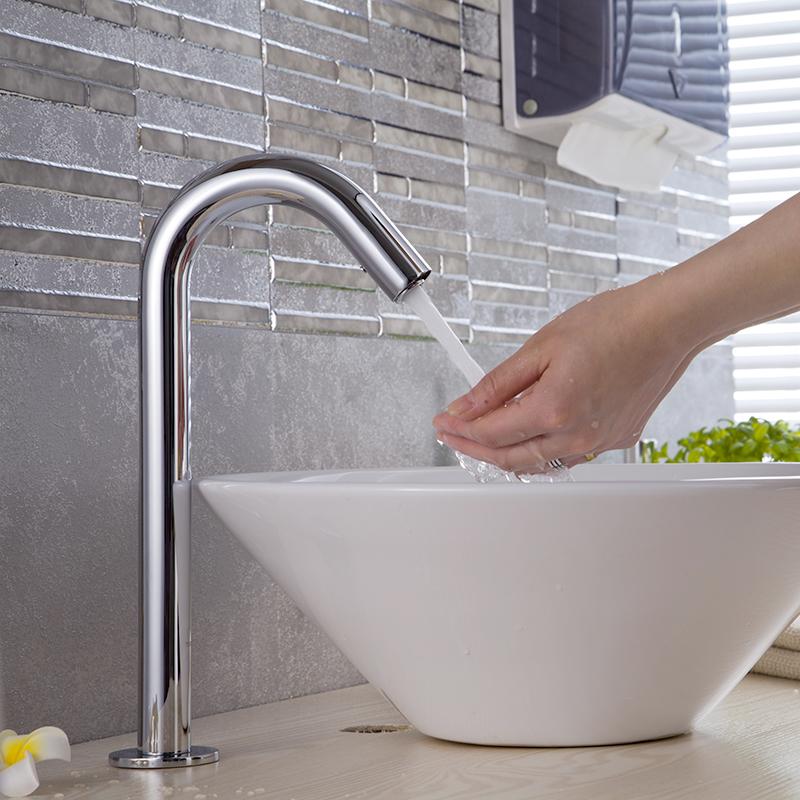 全铜单冷热家用卫生间洗手器一体化全自动红外线感应式水龙头 TS