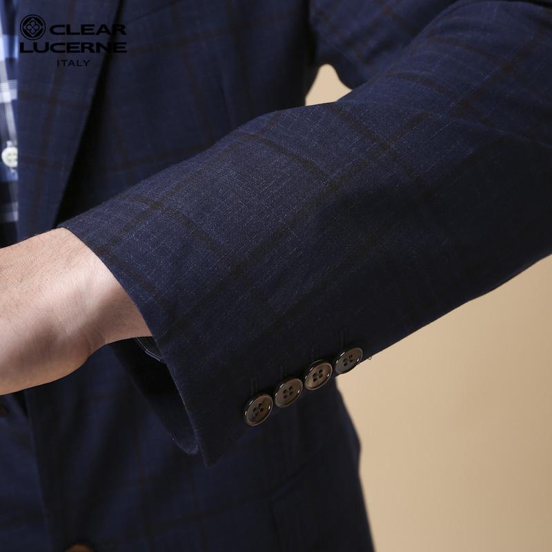 CLEARLUCERNE/凯莱露喜蓝色休闲单西男士西服青年商务羊毛亚麻