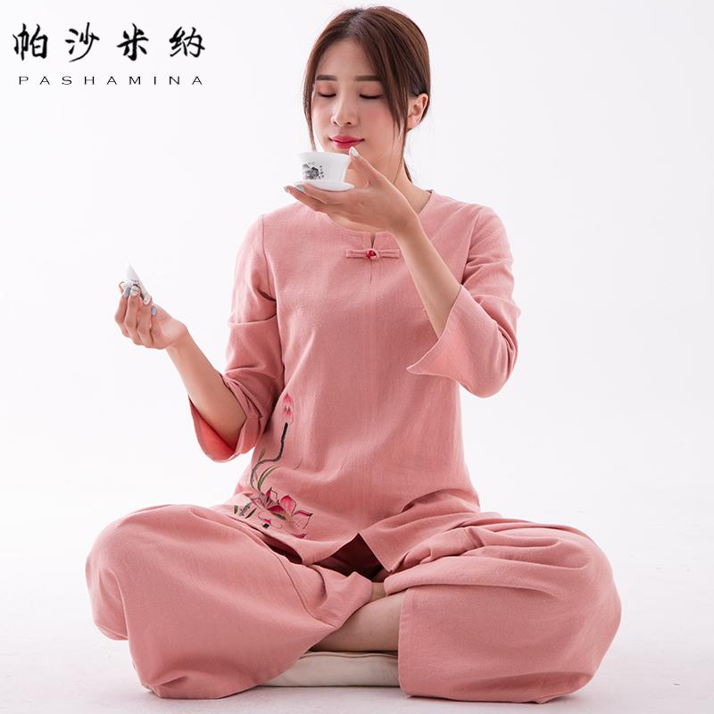 帕沙米纳2019春夏新品手绘中式棉麻茶服套装女打坐服禅修居士服女