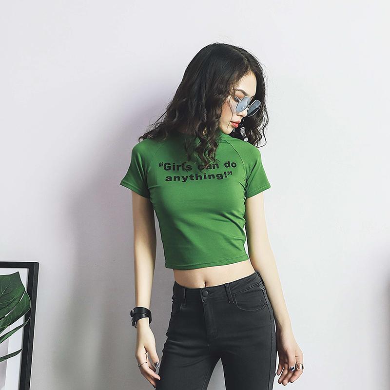 欧美性感紧身字母印花短款短袖T恤学生百搭圆领高腰露脐上衣女夏