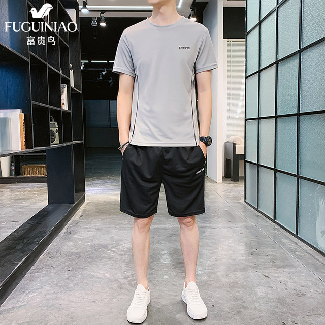 Fuguiniao short-sleeved t-shirt sports suit male quick-drying shorts summer thin section casual two-piece running fitness clothes