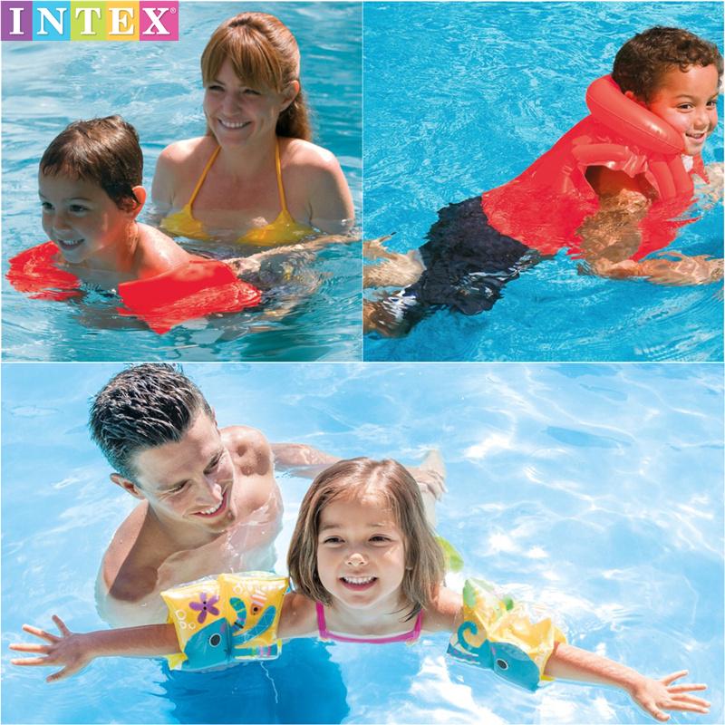 intex正品包郵卡通寶寶水袖兒童充氣安全大童學游泳訓練手臂浮圈
