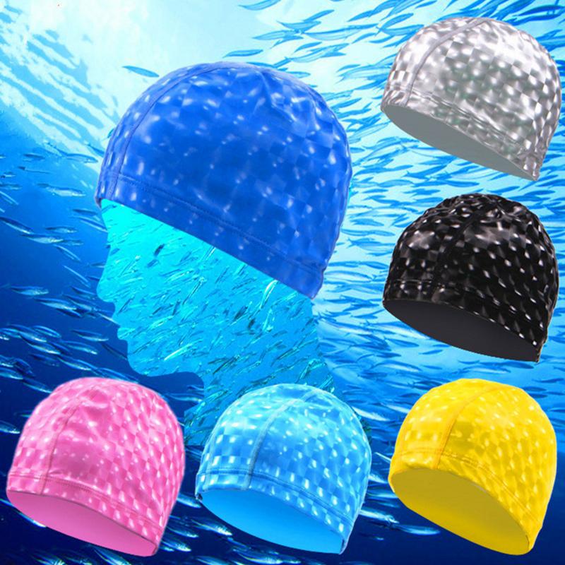 水立方立體純黑紅藍黃色游泳帽護耳發防水PU塗層舒適不勒貓眼彈性