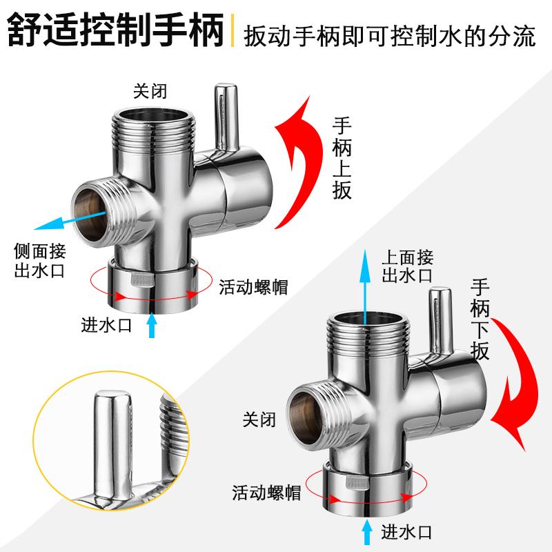 分內外絲接口分水閥接頭 6 分 4 全銅快開分水器活接一進二出三通角閥