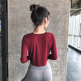 New winter sports lo shi short paragraph long-sleeved T-shirt female fitness clothes breathable wicking running yoga training clothes