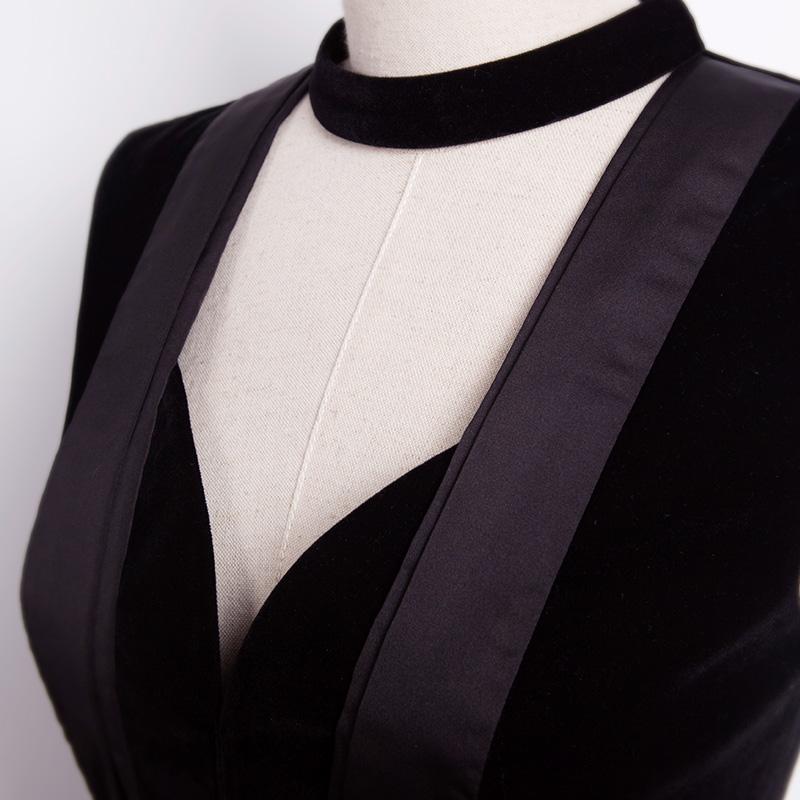 春装新款名媛风性感气质裙摆无袖拼接丝绒打底衫外套短裤套装女