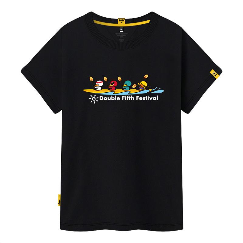 黄色T恤女宽松大码印花情侣装短袖上衣sugu圆领卡通印花定制班服