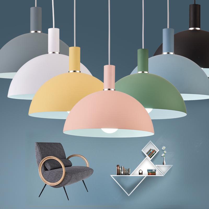 餐厅吧台商铺彩色锅盖吊灯灯罩
