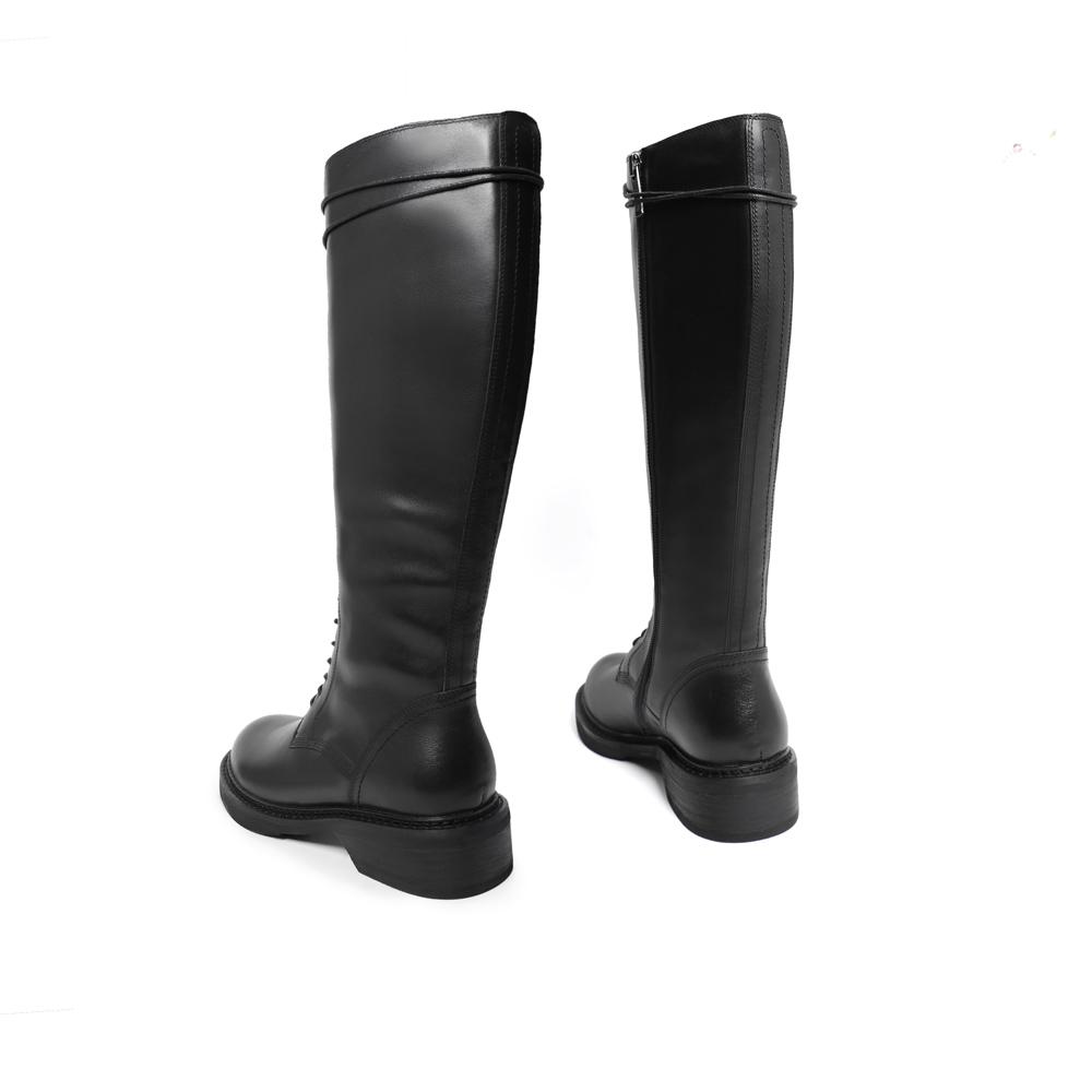 U6A2DDG9 冬新商场同款牛皮革女长靴 2019 百丽暗黑系马丁靴