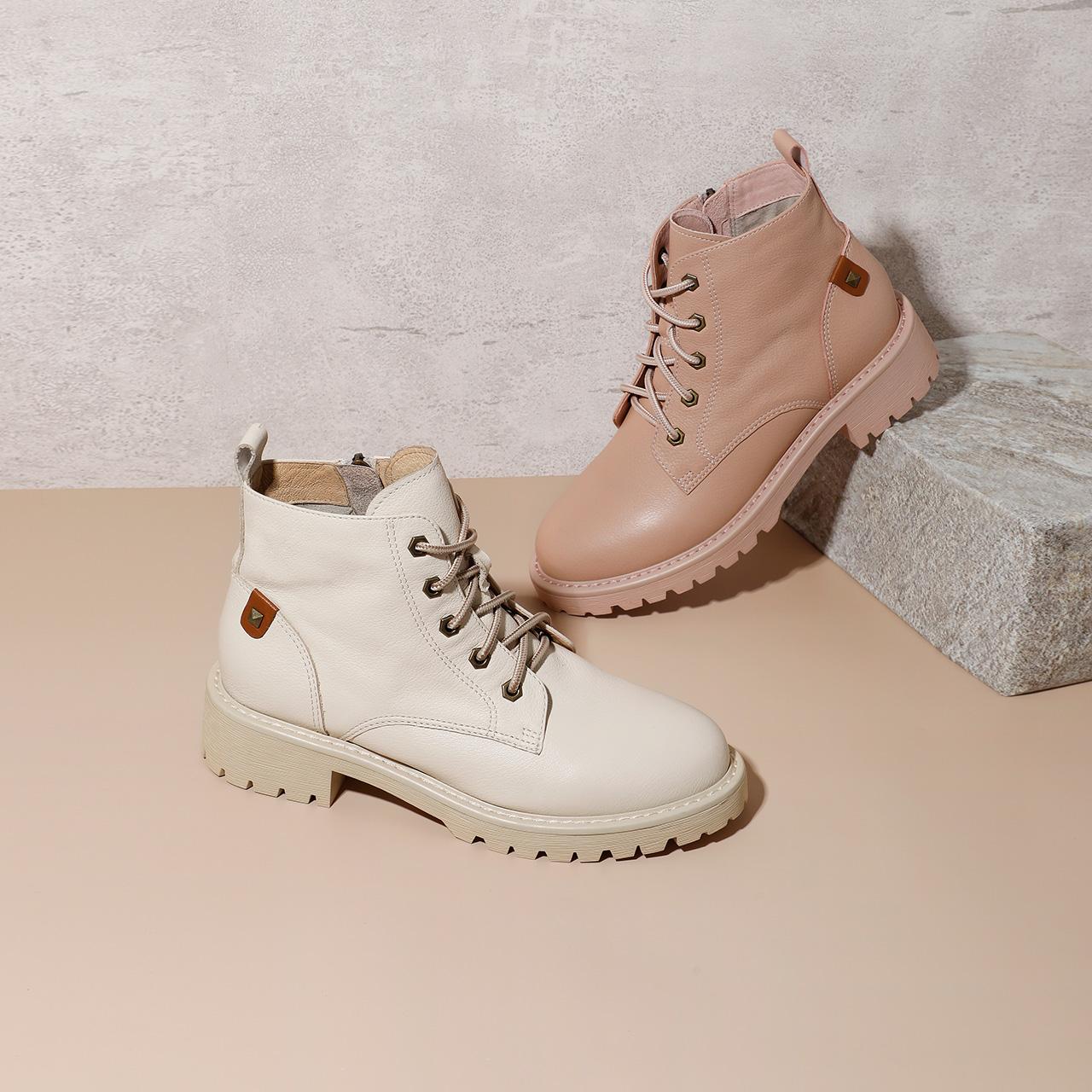 BZTB7DD9 冬新商场同款牛皮加绒休闲短靴 2019 百丽马丁靴女英伦风