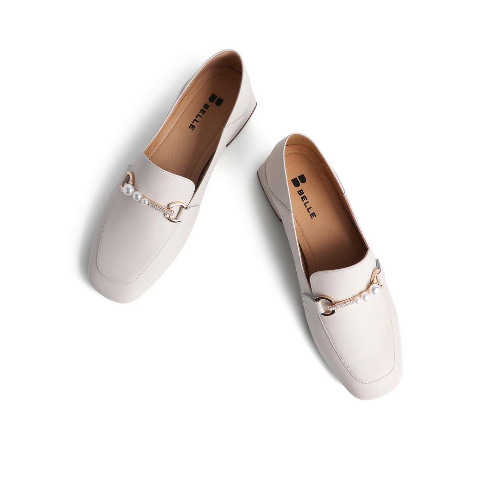 3E727AA1 春新商场同款英伦风皮革女小皮鞋 2021 百丽粗跟乐福鞋女