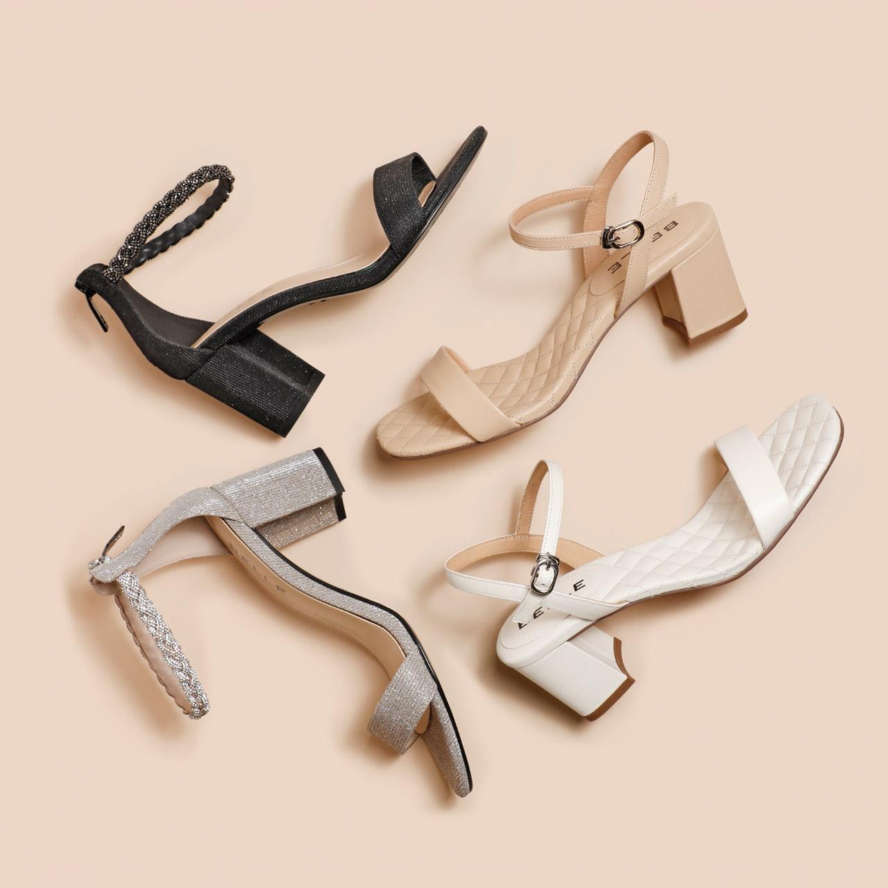 预 3W931BL0 夏商场新款绵羊皮菱格纹粗跟凉鞋 2020 百丽一字带凉鞋女