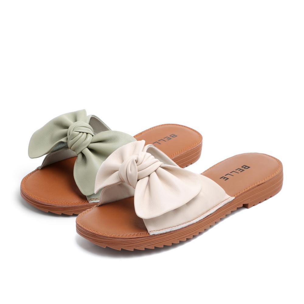 V4Q1DBT0 夏新商场同款羊皮革休闲外穿拖鞋 2020 百丽蝴蝶结凉拖女