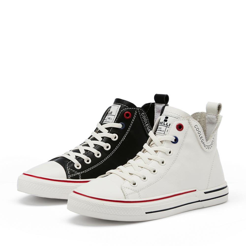 U8G1DAD0 春季新品商场同款牛皮革女高帮板鞋休闲靴 2020 百丽